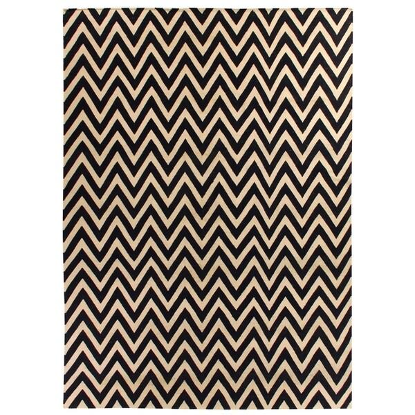 Zigzag Flatweave Navy / White New Zealand Wool Rug (11' x 15')