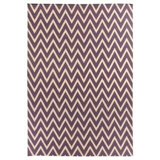 ZigZag Flatweave Plum / Cream New Zealand Wool Rug (8' x 11')