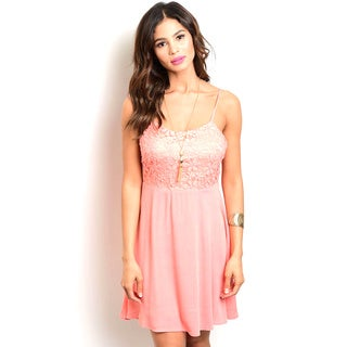 Shop the Trends Juniors' Spaghetti Strap Bady Doll Dress With Lace Bodice And Woven Chiffon Skirt