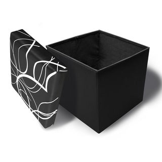 Crown Comfort's White Swirl Design Memory Foam Folding Ottoman on Black