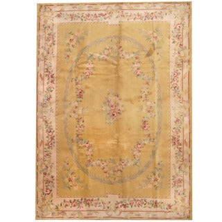 Herat Oriental Indo Hand-knotted Aubusson Green/ Ivory Wool Rug (9'9 x 13'9)