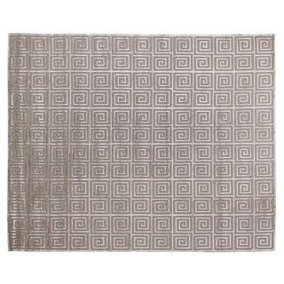 Greek Key Silver Wool / Art Silk Rug (9' x 12')
