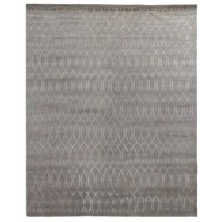 Metro Velvet Silver Wool and Silk Rug (9' x 12')