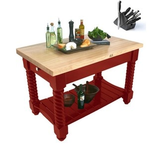John Boos TUSI5432-BR Tuscan Isle Boos Block Table Red 54x32x36 & BONUS 13 PC Henckels Knife Set