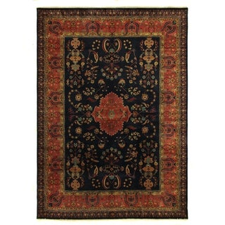 Mohajeran Red / Navy New Zealand Wool Rug (9' x 12')