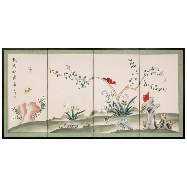 Silk Red Birds Courting Shoji Screen (China)