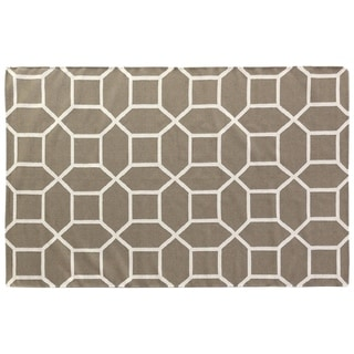Octagon Dhurrie Dark Sage New Zealand Wool Rug (11'6 x 14'6)