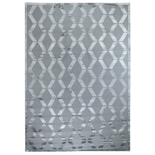 Ripple Aqua Wool / Art Silk Rug (9' x 12')
