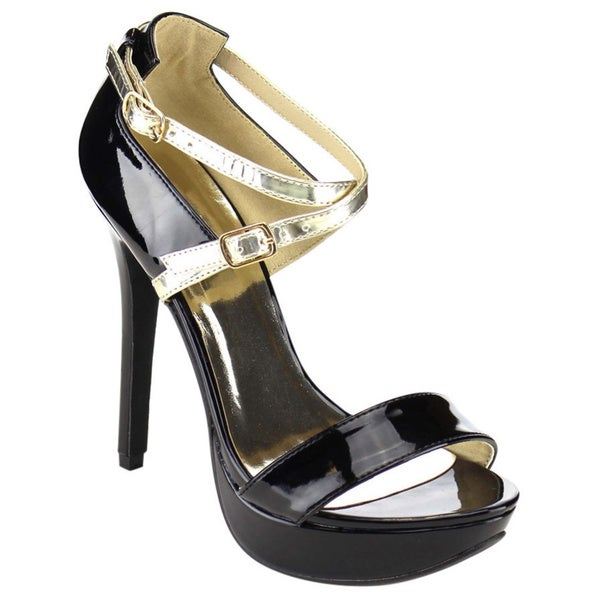 Beston Ankle Strap Metallic Criss-cross Stiletto Heels