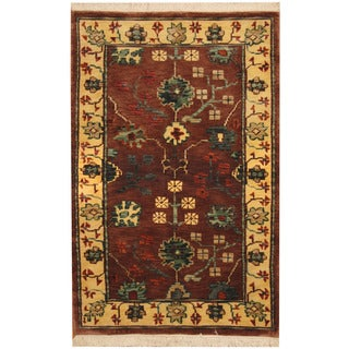 Herat Oriental Indo Hand-knotted William Morris Brown/ Ivory Wool Rug (3'6 x 5'6)