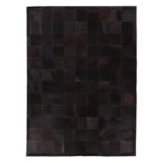 Stitched Blocks Black Leather Hair-on-hide Rug (11' x 15')