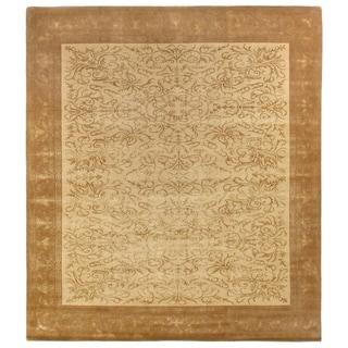 Super-fine Tibetan Weave Beige / Gold Hand-spun Wool and Silk Rug (9' x 10')