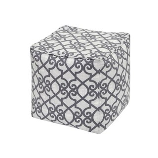 Madison Park Crystal Grey Printed Fretwork 3M Scotchgard Indoor/ Outdoor Pouf