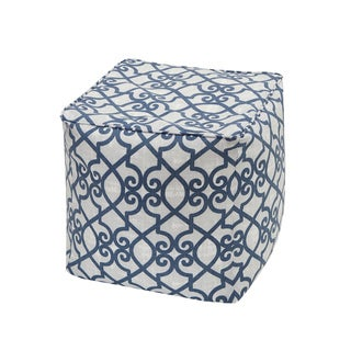 Madison Park Crystal Navy Printed Fretwork 3M Scotchgard Indoor/ Outdoor Pouf