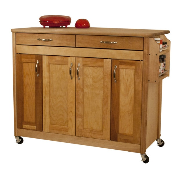Butcher Block Island with Flat Panel Doors