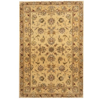 Herat Oriental Indo Hand-tufted Tibetan Gold/ Green Wool & Silk Rug (3'9 x 5'9)