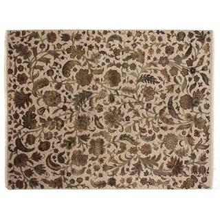 Suzani Ivory New Zealand Wool and Silk Rug (9' x 12')