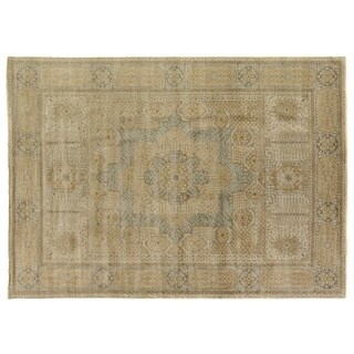 Tabriz Pale Gold / Grey New Zealand Wool Rug (9' x 10')