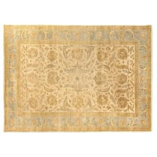 Turkish Oushak Ivory and Light Blue New Zealand Wool Rug (10' x 14')