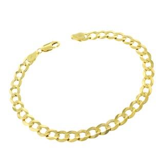 10k Yellow Gold 6mm Solid Cuban Curb Link Bracelet