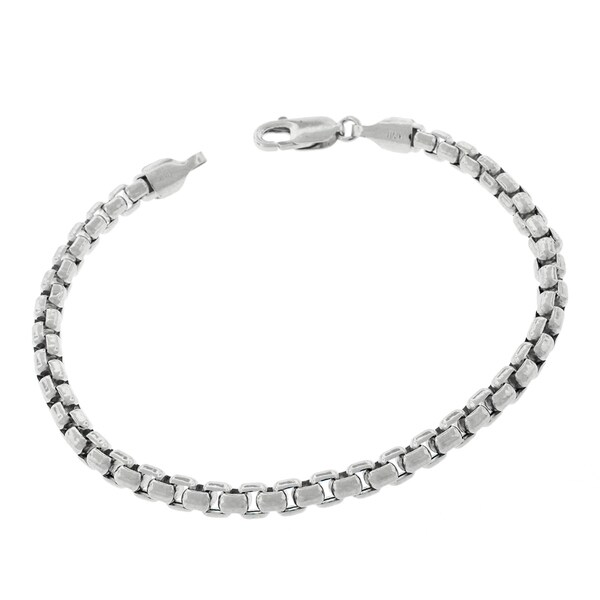 14k White Gold 5mm Round Box Link Fancy Bracelet