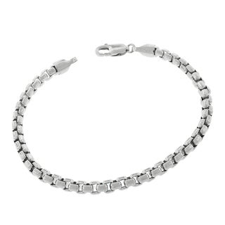 14k White Gold 5mm Round Box Link Fancy Bracelet