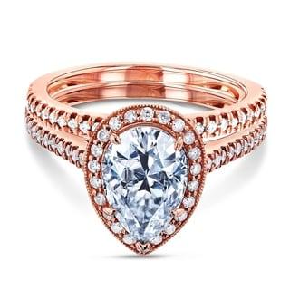 Annello 14k Rose Gold 2 3/5ct TCW Forever Brilliant Pear Moissanite and Round Diamond Halo Bridal Set (G-H, I1-I2)