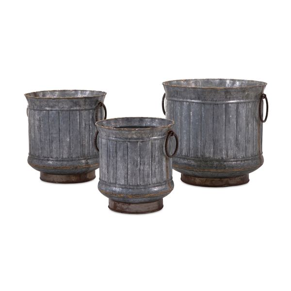 Griffin Galvanized Planters with Brass Edging (Set of 3)