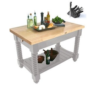 John Boos 54x32 Tuscan Isle Grey Butcher Block Table Natural Maple Top TUSI5432 and 13-piece Henckels Knife Set
