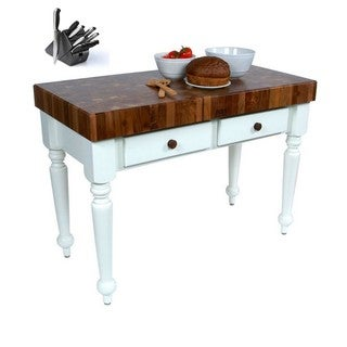 John Boos 48x24 Rustica White Kitchen Island with Walnut Top WAL-CUCR05-AL and Henckels 13-piece Knife Set
