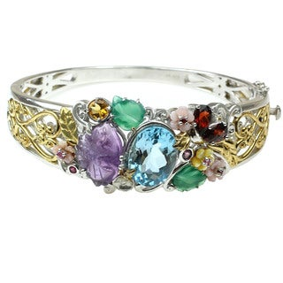 One-of-a-kind Michael Valitutti Multi Gemstone Floral Box Clasp Bracelet