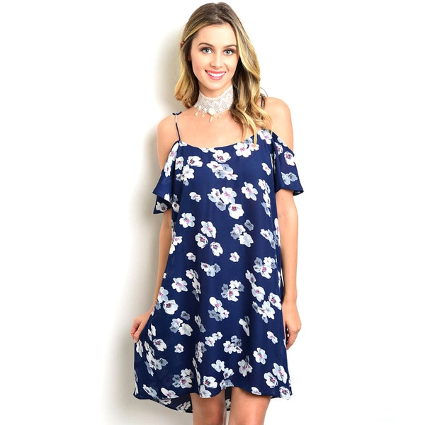 Shop the Trends Juniors' Blue Polyester Spaghetti Strap Dress