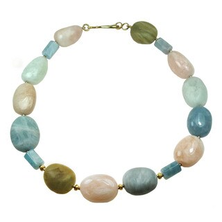 One-of-a-kind Michael Valitutti Multi Colored Beryls with Aquamarine Beaded Necklace
