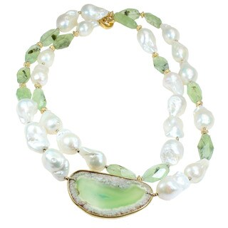 One-of-a-kind Michael Valitutti Green Agate Slice with Prenhite and Baroque Pearl Necklace