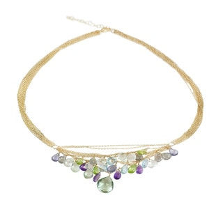 One-of-a-kind Michael Valitutti Green Amethyst with Labradorite, Quartz, Amethyst, Peridot,Topaz and Iolite Multi Chain Necklace