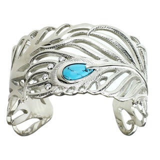 One-of-a-kind Michael Valitutti Pear Spider Turquoise with Cubic Zirconia Feather Bangle Bracelet
