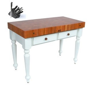 John Boos 48x24 Rustica Cherry Top Kitchen Island CHY-CUCR05-AL with Henckels 13-piece Knife Set