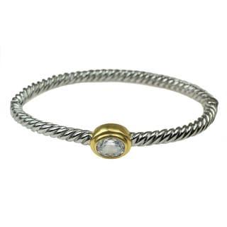 One-of-a-kind Michael Valitutti Oval White Zircon Bangle Bracelet