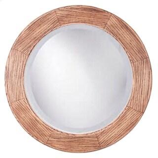 Adonai Red Mahogany Rustic Oak 26-inch Round Mirror
