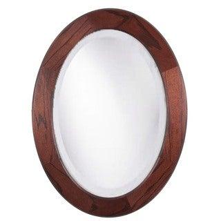 Adonai Red Mahogany 34-inch Oak Oval Mirror
