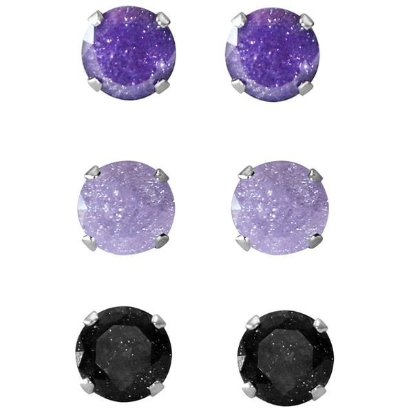 Set of 3-pair Sterling Silver 8-mm Violet Light Purple/ Black Ice Cubic Zirconia Stud Earrings