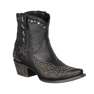 Lane Boots Women's Starry Night Black Leather Studded Cowboy Boot