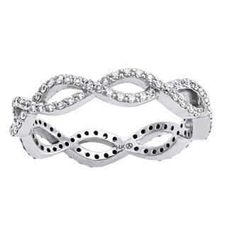 Beverly Hills Charm 14k White Gold 1/2ct TDW Diamond Braided Eternity Band Ring (H-I, SI2-I1)