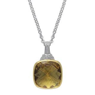 SIRI USA 14k Yellow Gold over Silver Champange Quartz and White Cubic Zirconia Pendant