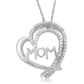 Montebello Jewelry 14k White Gold 1/6ct TDW White Diamond Mother's Heart Pendant Necklace (I-J, I2-I3)