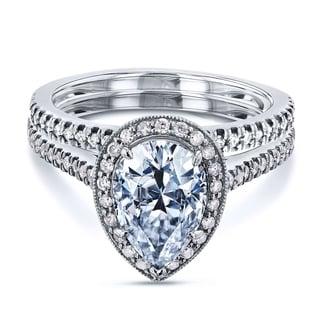 Annello 14k White Gold 2 3/5ct TCW Forever Brilliant Pear Moissanite and Round Diamond Halo Bridal Set (G-H, I1-I2)