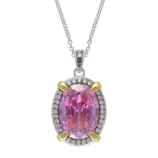 SIRI USA 14k Yellow Gold over Silver Pink and White Cubic Zirconia Pendant