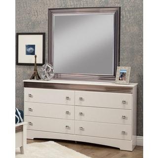 Sandberg Furniture Celeste 6-drawer White Dresser and Mirror