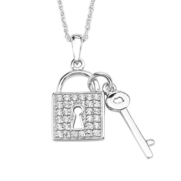 Sterling Silver Cubic Zirconia Lock and Key Pendant