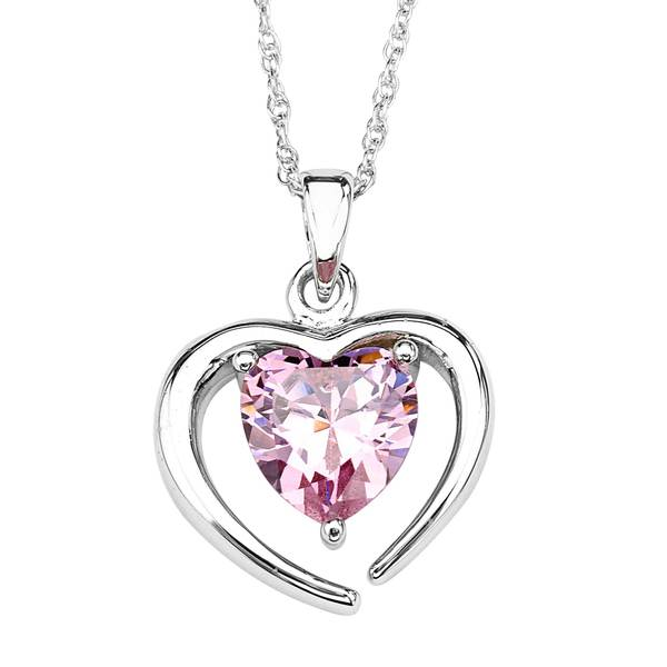 Sterling Silver Pink Cubic Zirconia Heart Pendant